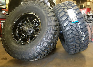 5 17 D531 Fuel Hostage Black Wheels Jeep Wrangler Jk 35 Mt Tires Package Tpm