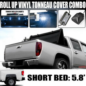 Tri Fold Soft Vinyl Tonneau Cover White Led Lights 14 Silverado Sierra 5 8 Bed