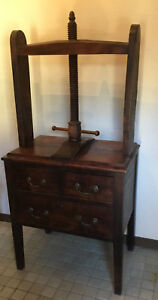 Antique English Book Linen Press Press On Chest