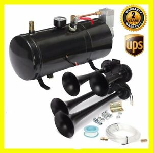 118db 4 trumpet Air Horn 110psi Air Compressor Kit For Boat Truck Train 24v