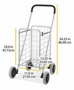 Grocery Cart Folding Shopping Cart Jumbo Size Basket With Wheels Laundry Travel