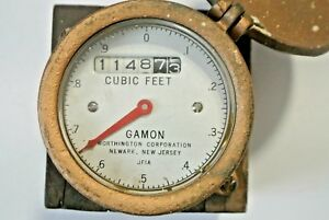 Vintage Worthington Gamon Newark Nj Cubic Ft Water Meter Gauge W Brass Cover