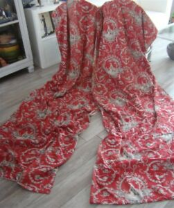 2 French Antique Curtains Red White Toile De Jouy 19th Century
