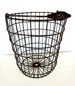 Check Out This Large Old Garden Wire Basket W Bail Handle L K