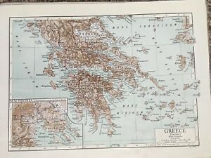 1911 Map Of Ancient Greece From The 1911 Encyclopedia Brittanica