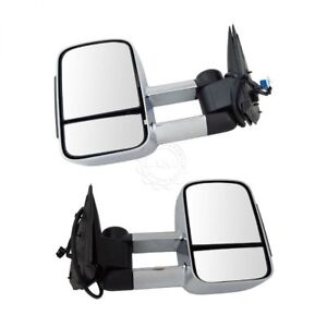 Towing Mirror Heated Signal Upgrade Power Folding Chrome Pair For Gm New