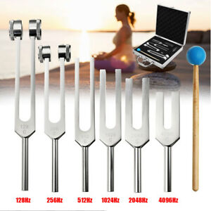 6pcs Aluminum Medical Tuning Fork Set Chakra Heal Sound Vibration Therapy mallet
