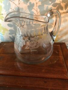 Antique Vintage Hand Blown Clear Crystal Glass Large Pitcher Etched Floral Deal