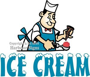 Ice Cream Decal choose Your Size Man Concession Food Truck Sign Sticker