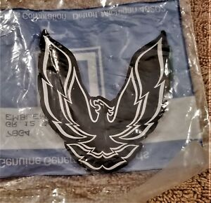1985 90 Pontiac Firebird Trans Am Rear Panel Emblem Oem Nos black silver
