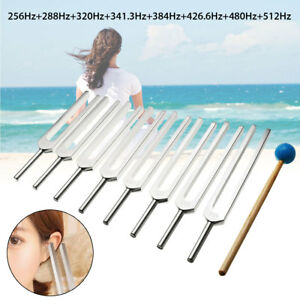 8pcs Aluminum Medical Tuning Fork For Healing Sound Vibration Therapy W Mallet