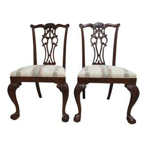 2 Ethan Allen 18th Century Mahogany Dining Side Chairs Ball Claw Chippendale
