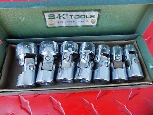7pc S k Sk Tools Swivel Socket Set Sae 3 8 Drive 6 Pt 3 4 3 8 W case