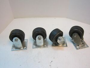 4 Hard Rubber 3 1 4 X 2 Wheels 2 Rigid 2 Swivel 4 1 2 X 4 Plate Casters New