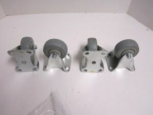 4 Wagner Thermoplastic Rubber 3 X 1 Wheel Rigid 3 X 3 3 4 Plate Casters New