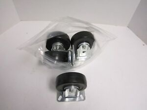 Lot Of 4 Wagner Rubber 4 X 1 3 8 Wheel Rigid 3 1 8 X 4 1 8 Plate Casters New
