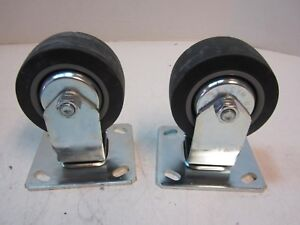Lot Of 2 Rubber 4 X 1 3 4 Wheel Rigid 4 1 2 X 4 Plate Casters New