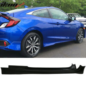 Fits 16 18 Honda Civic Coupe Only Hf p Style Side Skirts Polyurethane Unpainted