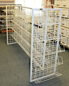 H shaped 56 X 85 White Dvd cd book Wire Display Rack shelves Local Pickup Nj