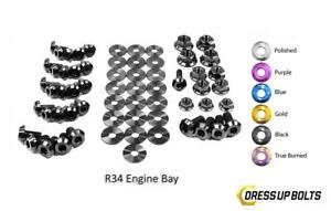 Black Dress Up Bolt Kit For 1998 2002 Nissan Skyline R34 Gtr Engine Bay