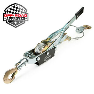 4 Ton Portable Manual Hand Power Ratchet Come Along Winch Cable Puller 3 Hooks