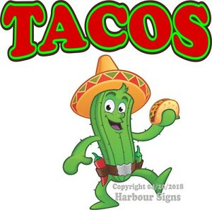 Tacos Decal choose Your Size Cactus Mexican Concession Food Truck Sticker