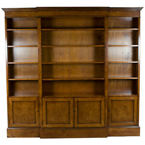 Large New Antique Style Breakfront Bookcase Bookshelf Cabinets Doors Light Wood