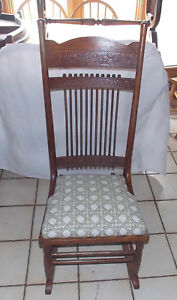 Carved Quartersawn Oak Stick And Ball Sewing Rocker Rocking Chair R185