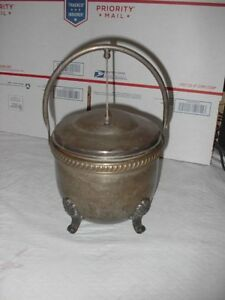 Vntg Ice Bucket W Lid Footed Glass Lined Silver On Copper Hallmarked