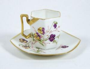 Antique Hand Painted Demitasse Tea Cup Hexagonal Bone China Pansy Flowers