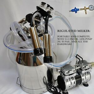 Regulated Complete Cow Bucket Milker Oil less Vacuum Pump Pulsator Claw Cluster