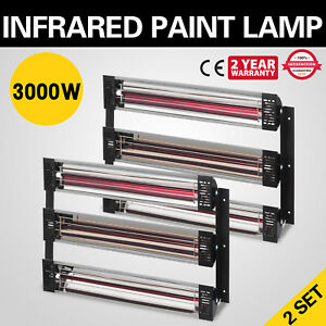 2 Set 3000w Spray Baking Booth Infrared Paint Curing Heater Lamp Heating Lights