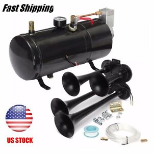 4 trumpet 118db Loud Truck Train Air Horn W 24v 110psi Air Compressor Kits Boat