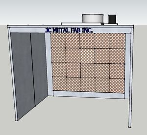 12ft Wide Open Face Paint Spray Booth single Phase