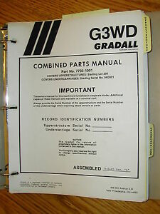 Gradall G3wd Excavator Parts Manual Book Catalog Guide List Telescopic Upper uc
