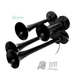Black Quad 4 Train Air Horn Kit Car Truck Boat 12v 150db Compact Horn Speaker