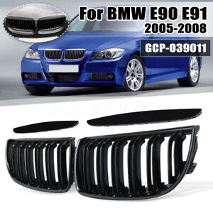 Front Double Slat Sport Kidney Grilles Grill Gloss Black For Bmw E90 E91 2005 08