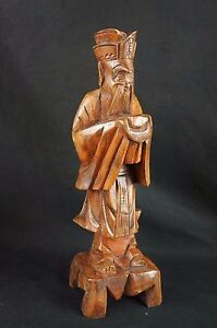 Great Huge Vintage Chinese Wood Carving Figurine Of Immortal 12 Y8 W8 A9