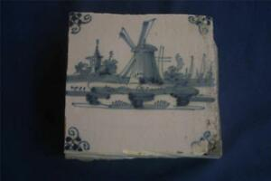 Rare Antique Dutch Delft Tile Village Scene