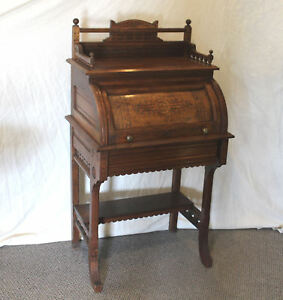 Antique Victorian Cylinder Walnut Ladies Desk Only 26 Inches Width