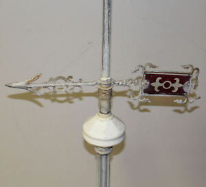 Antique Weathervane Arrow With Ruby Red Glass Insert Ball And Stand