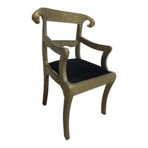 Vintage Tin Wrapped Ram Head Argentine Dining Room Desk Arm Chair