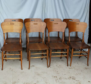Antique Set Of Eight Matching Oak Dining Chairs Solid Seats