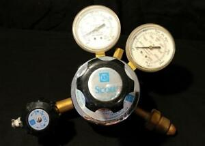 Vtg 2 stage Scott 18a Inert Gas Compressed Air Pressure Regulator 2 Gauges Usa