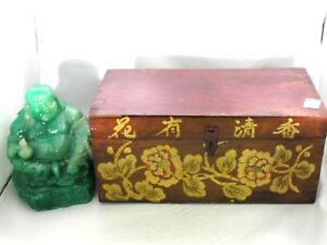 Vtg Antique Chinese Asian Small Decorated Wood Chest Trunk Box Flowers Writing