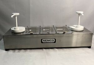 Nemco 88101 cb 2p Stainless Steel Condiment Dispenser Station 2 Pumps 3 Trays