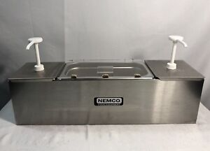 Nemco 88100 cb 1 Stainless Steel Condiment Dispenser Station 3 Trays 2 Pumps