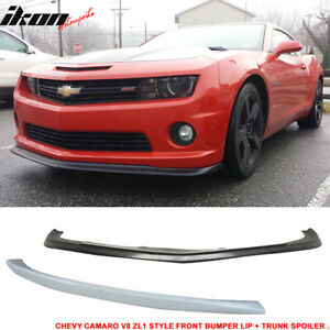 Fits 10 13 Camaro V8 Type Urethane Front Bumper Lip Rear Trunk Spoiler Wing
