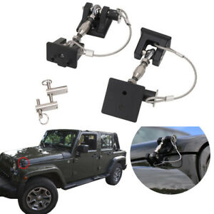 Engine Hood Latch Catch Billet Hinges Set Lock Key Pins Kit For Jeep Wrangler Jk