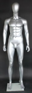6 Ft Tall Male Mannequin Abstract Head Muscular Body Shap Silver Color Sfm29e st